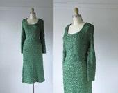 SALE vintage 1940s dress / 40s ribbon dress / Emerald City