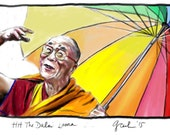 HH the Dalai Lama, A4 Fine Art Drawing Print