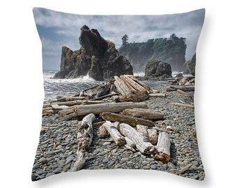 Ruby Beach with Sea Stacks and Driftwood in Olympic National Park in Washington State decorative novelty pillow Home Décor cushion cover