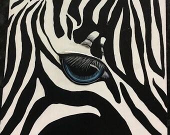 Hand painted OOAK Blue Eye Zebra Safari Home Office Room Decor Ceramic Tile