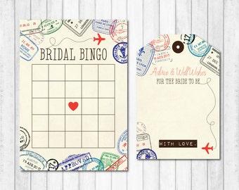 Bridal Bingo, Bridal Shower Games, Travel Themed Bridal Bingo, Travel Themed Shower Games, Passport Bridal Bingo, Travel Bridal Shower