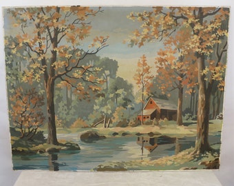 Large Vintage Paint by Numbers; Barn in the woods