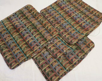 Custom Set of 4 Woven Graphic Multi Colored Decorative Pillow Shams 1980's