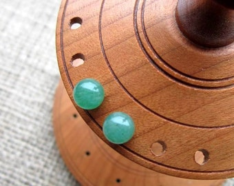 Green Aventurine Sterling silver stud earrings - studs 6mm ball posts