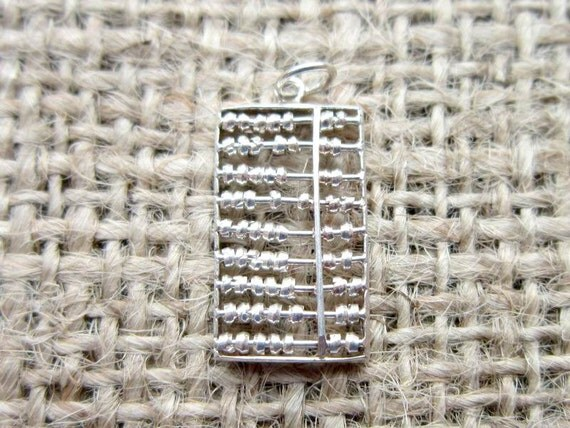 Vintage Sterling silver abacus pendant/charm - gifts for teachers