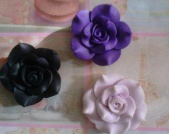 Kawaii fancy clay rose 3 pieces   USA seller
