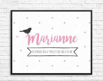 Personalized birth prints, dots confettis and bird, birth announcement wall art, digital prints, word art, nursery, baby prints