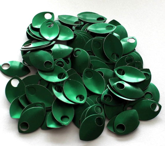 50 Green Anodized Aluminum Scales, Aluminum Chainmaille Supplies, Jewelry Making Supplies, Chainmaille Jewelry Supplies