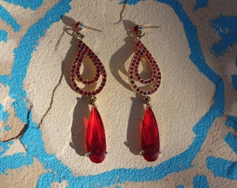 Gold tone Red earrings