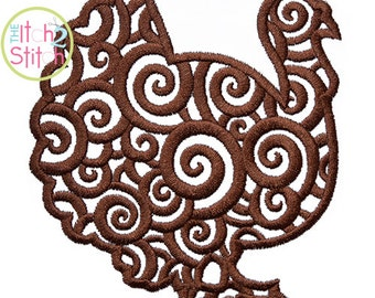 Scroll Turkey Embroidery Design For Machine Embroidery, INSTANT DOWNLOAD now available
