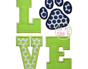 Paw Print Love Applique Design For Machine Embroidery INSTANT DOWNLOAD now available