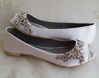 Wedding Shoes Bridal Flats Ivory Ballet Flats or White Bridal Ballet Flats with Peep Toe Shoes with Crystal Design