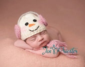 Snowman baby hat with scarf.. snowman... snow girl... .photography prop..Newborn photo prop....20% off with code VALEN1 at checkout