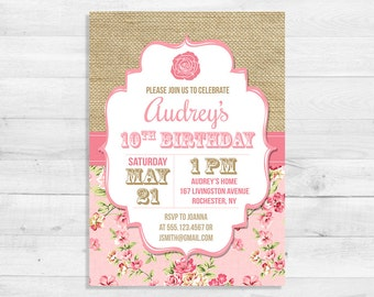 Shabby Chic Birthday Invitation, Burlap Birthday Invite, First Birthday Party Invitation, Pink Rose Invite, DIY PRINTABLE