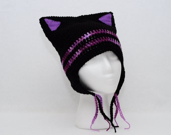 Kitty Cat Ears Beanie Hat with Ear Flaps - Black and Purple