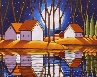Water Reflections Blue Night Folk Art Giclee, Moon Stars Evening Fall Landscape, 8x11 Art Print by Cathy Horvath Autumn Waterside Artwork