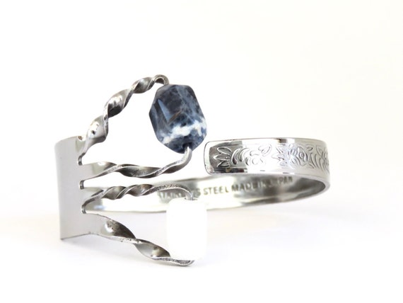 Stone Fork Bracelet, Fork with Stones (White Agate and Sodalite) Cuff, Women, Men, Mirror Finished, BLB 17