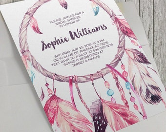 Printable Bridal Shower Invitation, Dreamcatcher Invitation, Boho Invitation, Boho Wedding, 5x7 Invitation, Tribal, Baby Shower Option