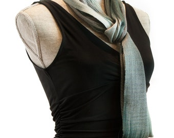 Black and White Infinity Scarf, Organic Bamboo, Black Gray White