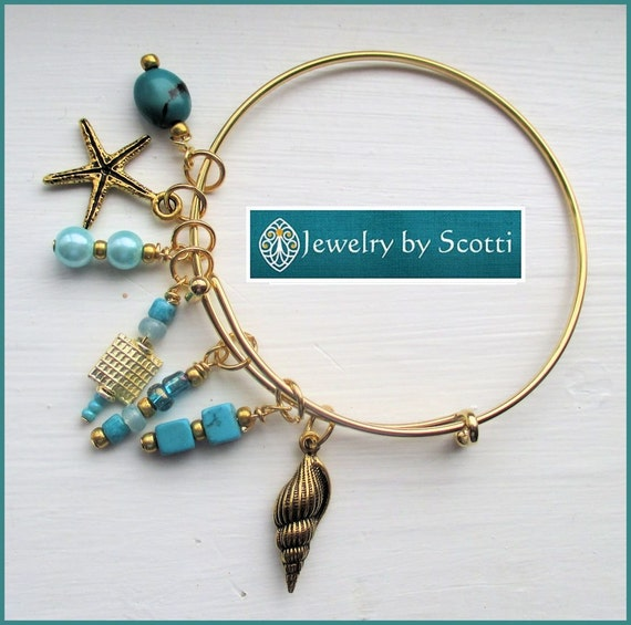 Teal Gold Bangle Bracelet, Her Beach Bracelet, Her Gold Bracelet, Her Bangle Bracelet, Stackable Bracelet, Starfish Shell Stacks