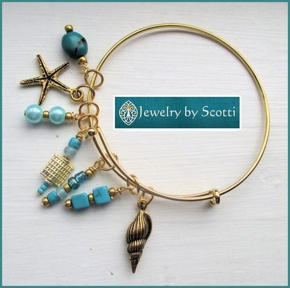 Teal Gold Bangle Bracelet, Her Beach Bracelet, Her Gold Bracelet, Her Bangle Bracelet, Stackable Bracelet, Starfish Shell Stacks