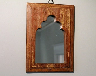 Mirror Reclaimed Vintage Indian Door Panel Wall Hanging Art Distressed Creme Brulee Mirror Moroccan Decor Turkish