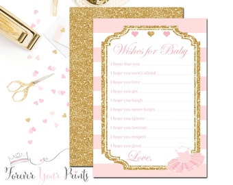 Tutu Baby Shower Advice Cards, Advice for Baby Cards, Wishes for Baby Cards, Tutu Baby Shower, Ballerina Baby Shower, Pink and Gold