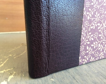 Handbound Sketchbook in Purple Goatskin and Handmade Bookcloth