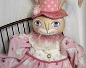 Rabbit Bunny Art Doll Folk Art rabbit bunny cloth art doll all handmade dressed in pink