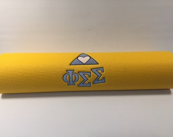Phi Sigma Sigma embroidered yoga mat