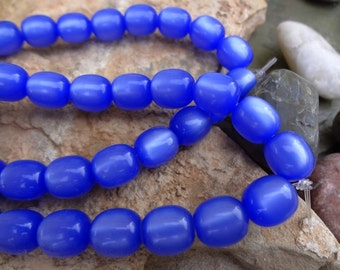 Vintage Lucite, 9x10mm, Oval, Moonglow Sapphire, Per Strand