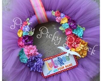 The Lulu wreath- LulaRoe inspired Wreath- tutu tulle wreath- personalized
