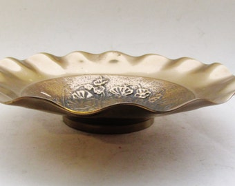 Vintage Brass Decorative Dish, Floral Design Brass, Chinoiserie, Coffee Table Decor