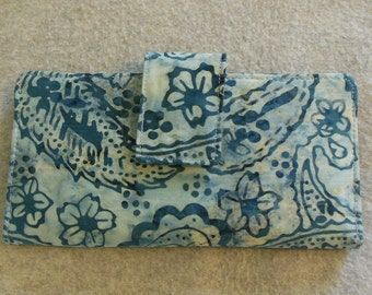 Fabric Wallet - Blue Batik Paisley with Flowers