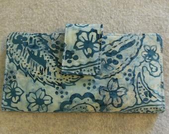 Fabric Wallet - Blue Batik Paisley with Flowers