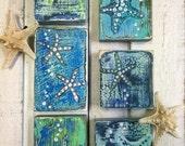 Original Painting Seascape Art Block Set of 3 A Study in Starfish Beach House Decor by CastawaysHall