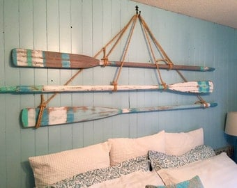Vintage Oar Paddle Headboard KING or QUEEN Size Beach House Style Wall Art Coastal Nautical by CastawaysHall
