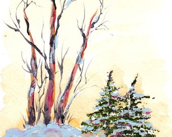 "Woodland, Aspen, Art Print    ""Winter Dreams""    8"" x10"" yellow, brown, red, green, winter, special occasion"