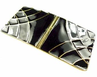 Belt buckles, black vintage enameled gold tone metal