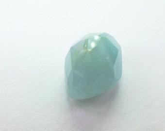 Natural Aquamarine Faceted Cabochon. Micro Facet Rose Cut. Freeform. 1 pc. 10.43 cts. 11x16.8.5 mm (EM2226)
