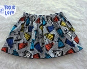Dr. Who Dalek Girls Skirt (sizes doll, girls 0/3 months to girls 12/14) girls cotton skirt, dolly and me, birthday party outfit