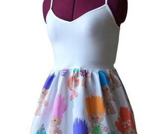 Treasure Trolls Tank Top (xs, s, m, l, xl) upcycled vintage sheets, ladies peplum top, womens baby doll shirt, vintage trolls, 90s costume