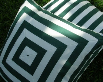 Designer  Pillow Cover, 18 inch, Green and White Cotton