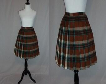 "60s Plaid Pleated Skirt - Brown Turquoise Wool - School Girl - Vintage 1960s - 26"" waist"