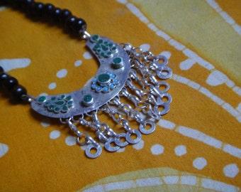 Arabic Inlaid Collar Statement Prayer Bead Necklace Kuchi Middle Eastern Belly Dancer Long Tribal Mala