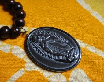 Our Lady of Guadalupe Prayer Bead Necklace Carved Hematite Virgin Mary Pendant Mala Mens Long Statement Hemp Tribal