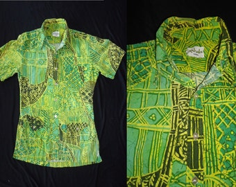 Lime Green Hawaiian Vintage 1960's Men's Rockabilly Summer Shirt S M