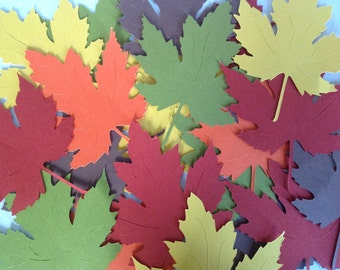 50 Large Veined 4 inch Fall Maple Leaves die cuts