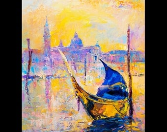 Beautiful Gondola- Modern Impressionism Style-Oil Painting of Venice 24 x 20'' Original oil painting by Nikolov