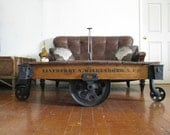 Professionally Restored/Repurposed Authentic Industrial / Railroad Factory Cart Cocktail / Coffee Table Reserved for Jason